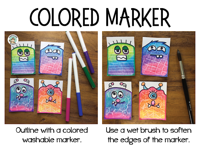 showing colored marker around the edges and what happens when the edge of the marker is softened with a wet paintbrush
