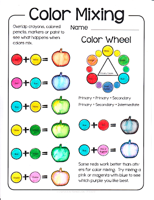 a sample of the color mixing page with the colors added