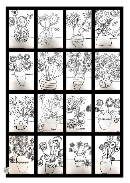 16 students line drawing of vases of flowers