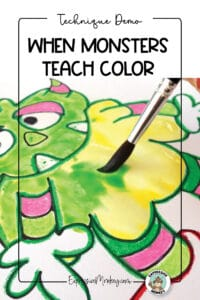 """A close-up of a pink and green monster being painted with green paint over yellow paint. The stripes on the arms and legs were colored with pink and green crayons. The text says, """"Technique Demo - When Monsters Teach Color""""."""