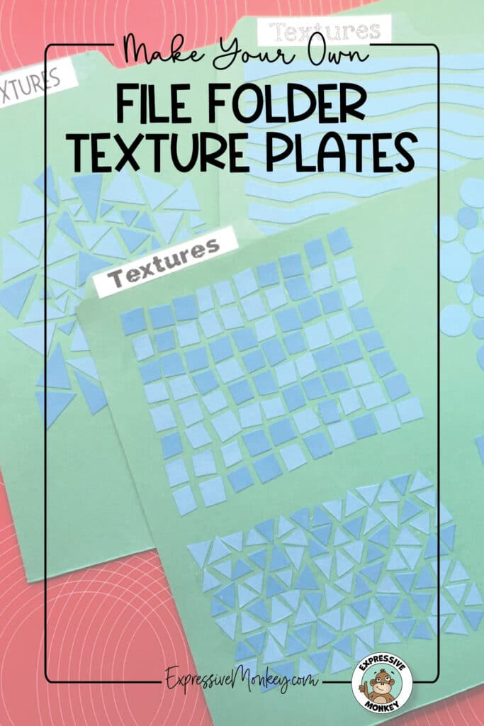 """File folders with textures on them for texture rubbings. The textures are made from gluing scraps of cut file folders in a pattern. The text says, """"Make Your Own File Folder Texture Plates""""."""