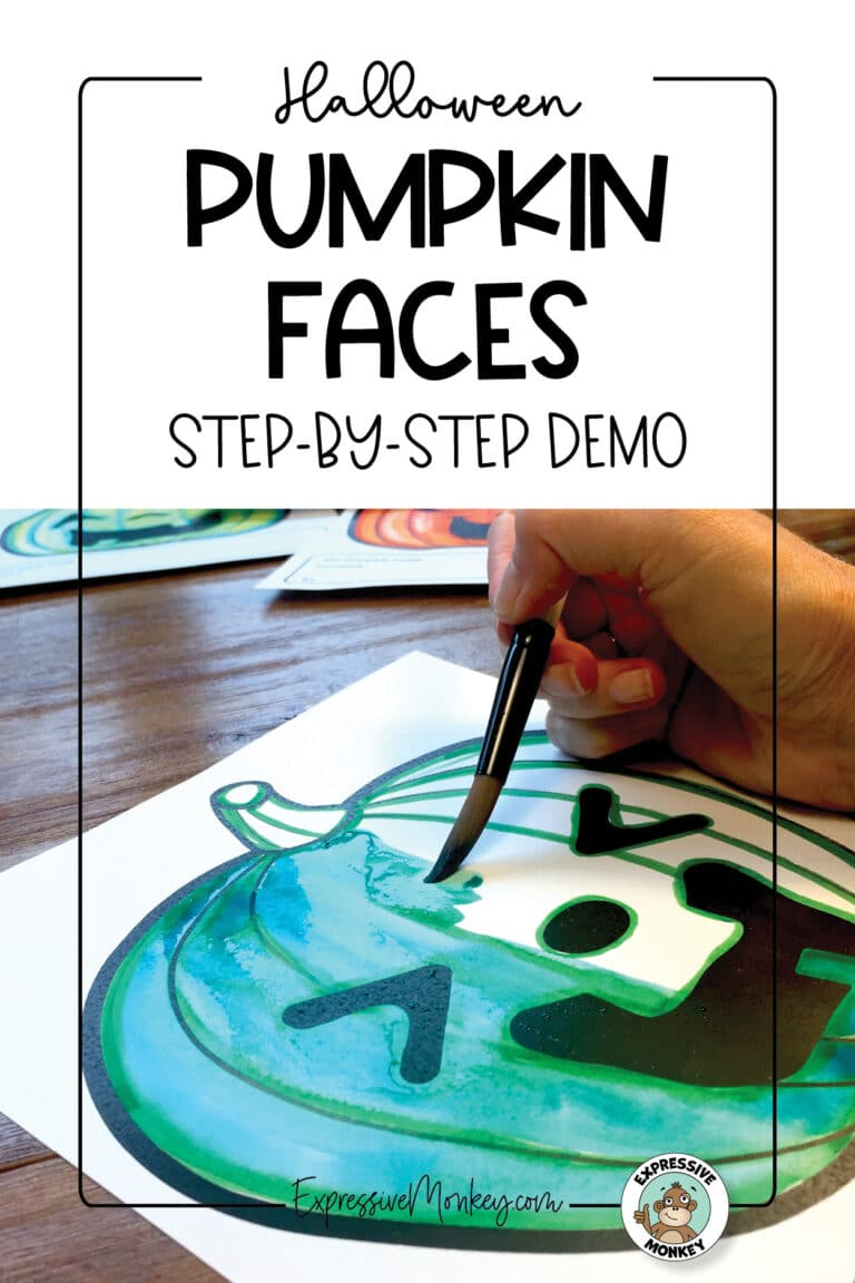 """A close-up of a pumpkin face being painted a blue-green color. The pumpkin has a laughing expression. The text says, """"Halloween Pumpkin Faces - Step-by-Step Demo""""."""