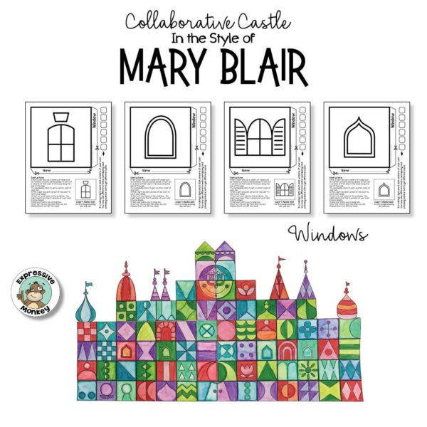 Collaborative Castle in the Style of Mary Blair