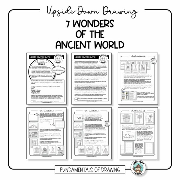 How to Draw - 7 Wonders of the Ancient World - Upside-Down Drawing